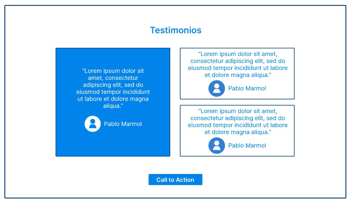 Cómo estructurar una página de inicio - Sección Testimonios